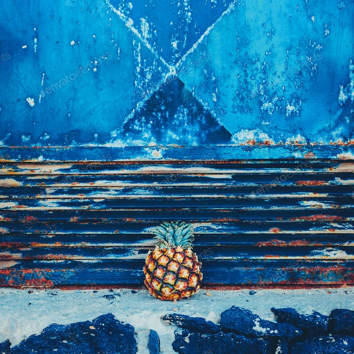 Mini pineapple on grunge wall background. Minimal style