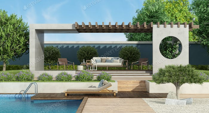 Modern garden with concrete gazebo and swimming pool