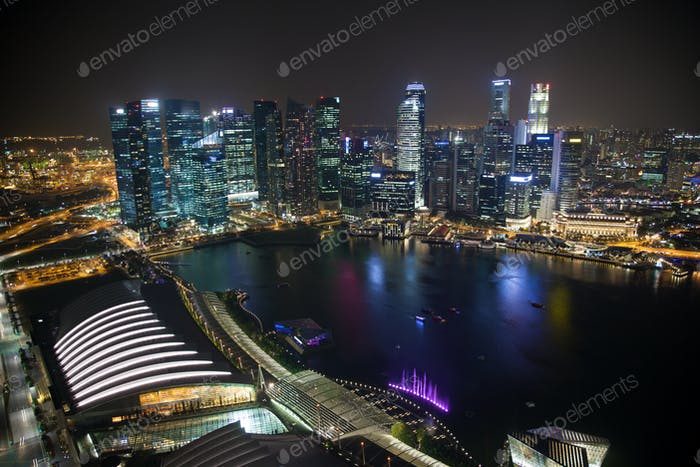 Singapore business centre at night