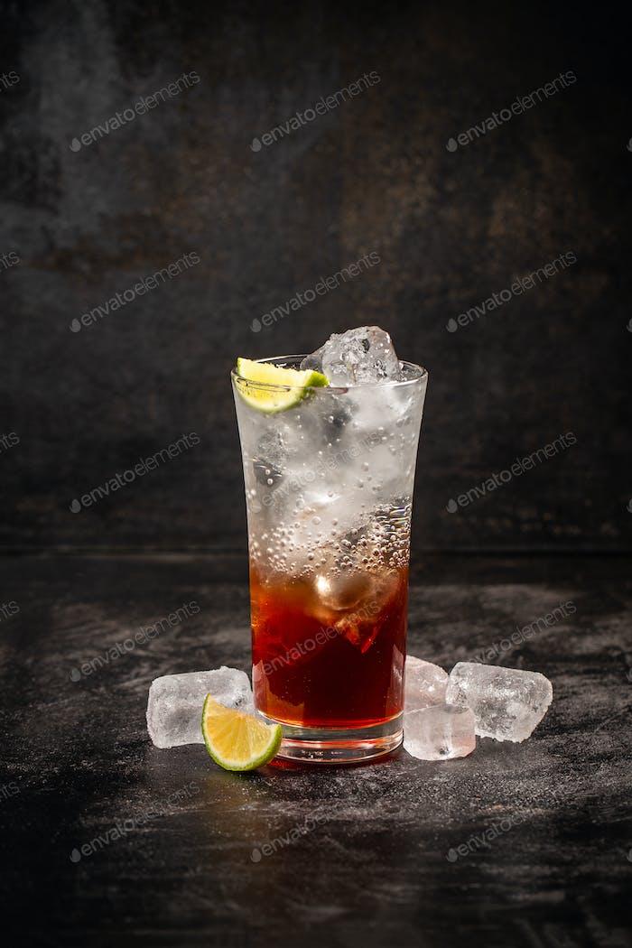 Glass of strawberry soda drink