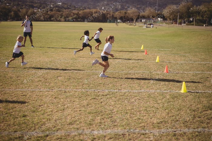 Schoolgirls running during competition