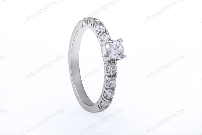 White Gold Wedding, Engagement Ring with Diamonds on White Background