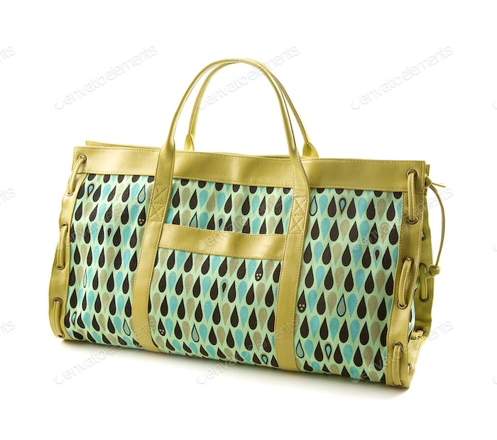 Green canvas and leather handbag with liquid drops pattern
