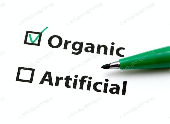 Option für organische oder künstliche