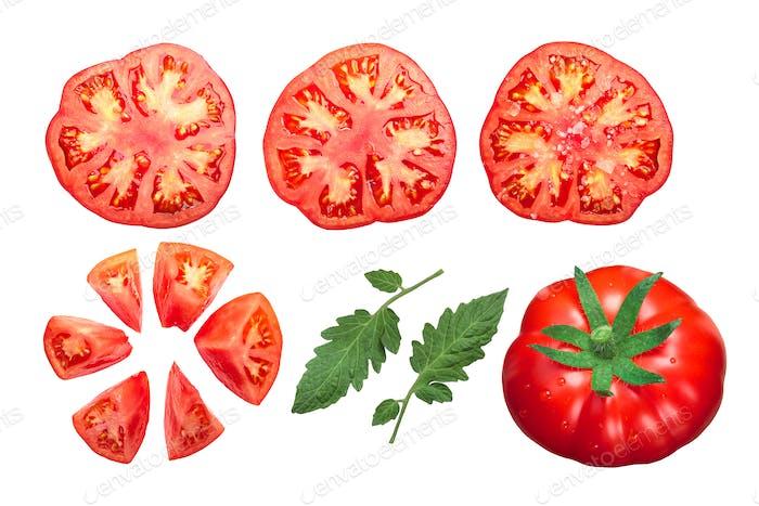 Pantano tomatoes whole, cut, top view