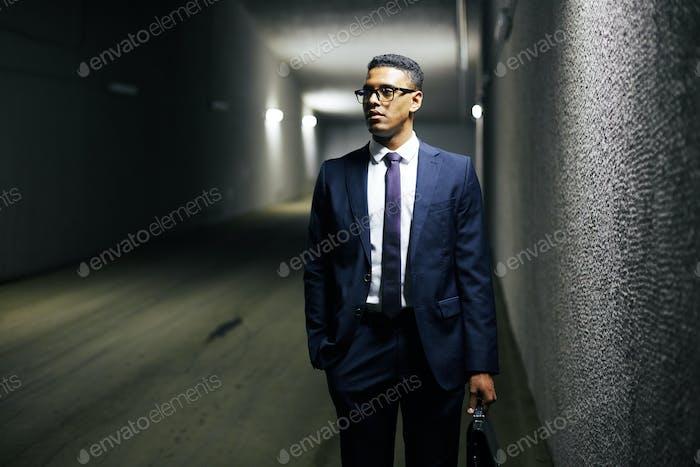Businessman in tunnel