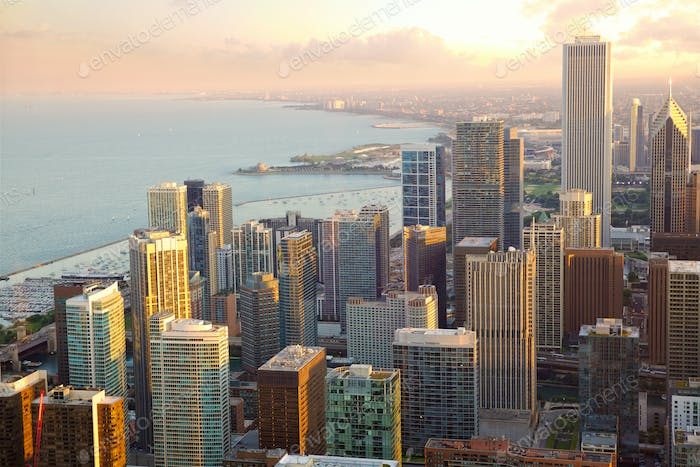 Chicago skyscrapers sunset view