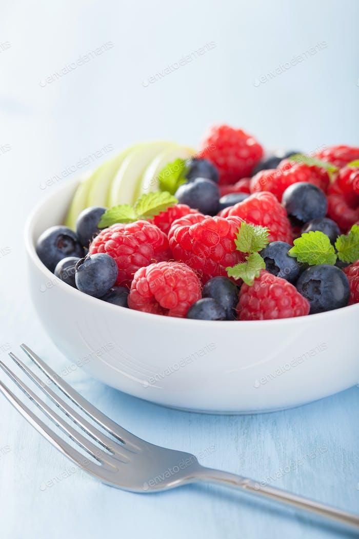 fresh fruit salad with raspberry blueberry apple