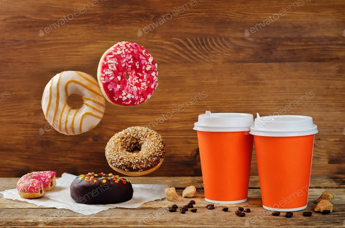 Flying donuts and coffee