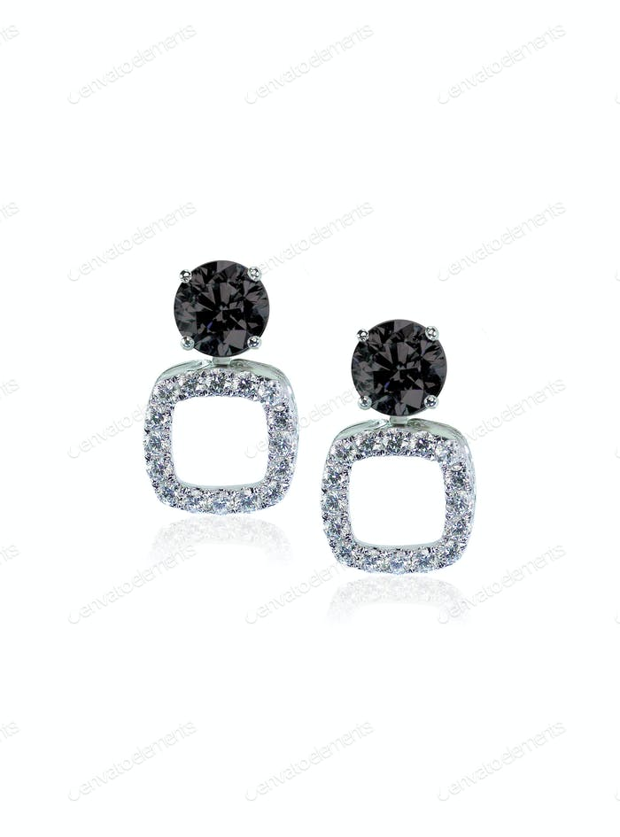 Black Onyx and diamond pierced earrings