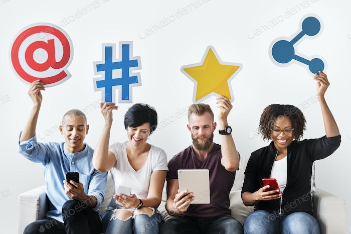 People holding an social media icon
