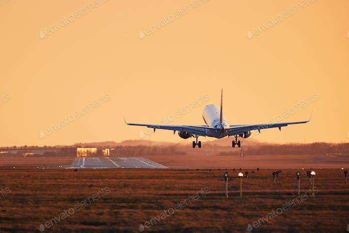 Flugzeug landet bei Sonnenuntergang
