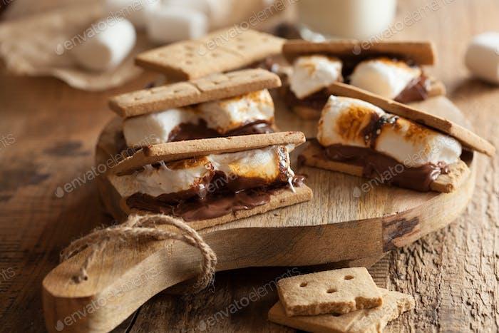 hausgemachte Marshmallow s'mores mit Schokolade auf Crackern