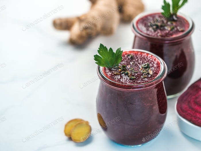 Fresh beetroot and ginger smoothie, copy space