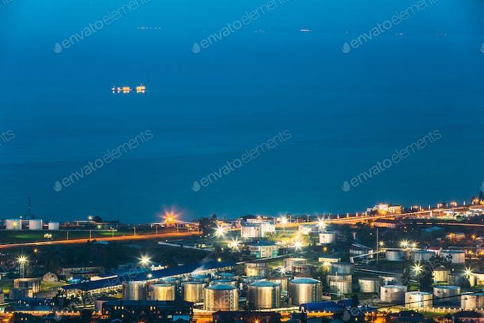 Batumi, Adjara, Georgia. Aerial View Of Cityscape At Evening. Bl