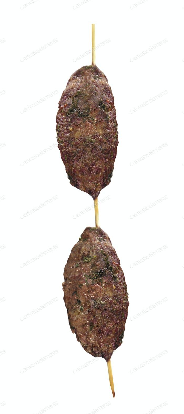 Shish kebab isolated on white