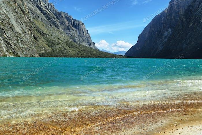 Shore of Llanganuco Orconcocha lake