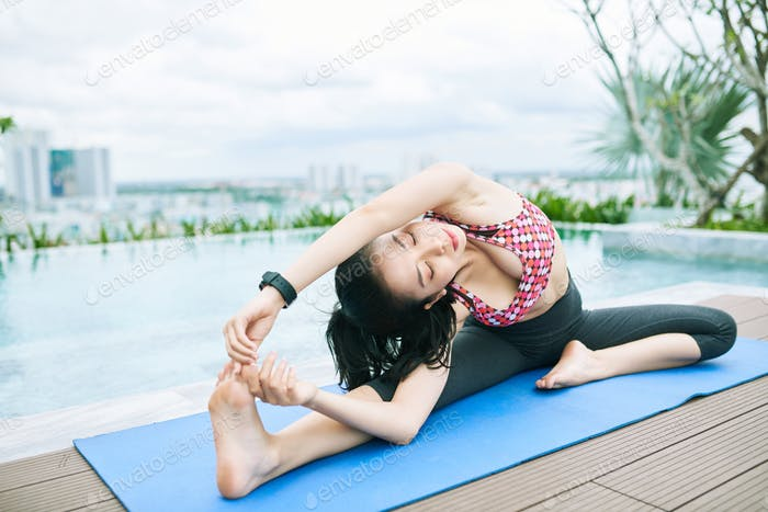 Woman stretching and relaxing