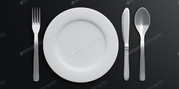 Place Setting isolated on black background. 3d illustration