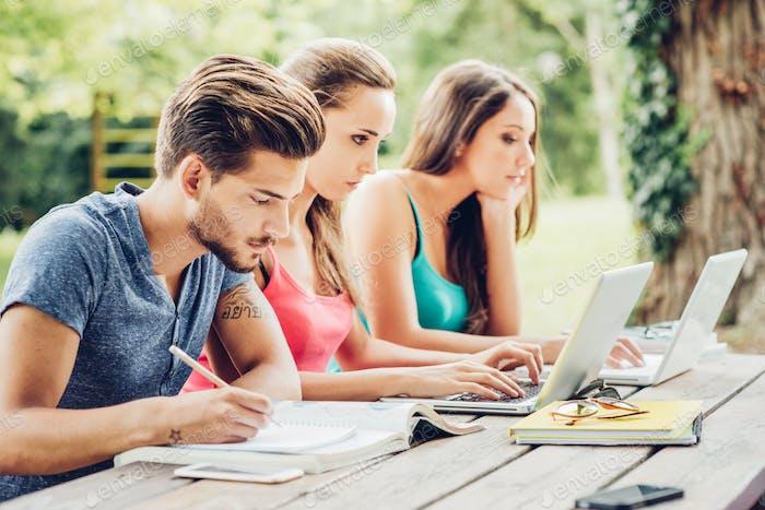 Estudiantes haciendo la tarea de verano