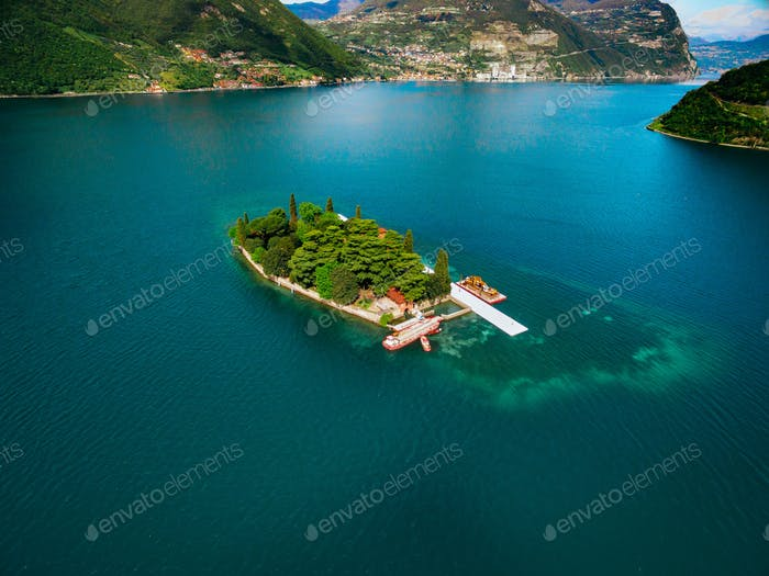 The island of San Paolo in Iseo lake in Italy.