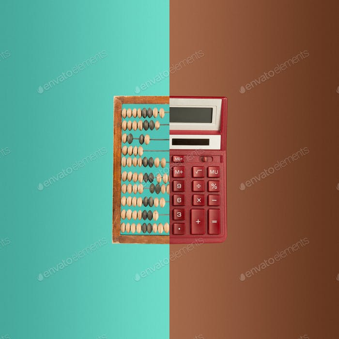 Old wooden abacus and new calculator on colored background.