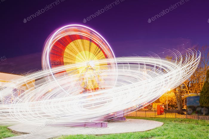 Rotierende In Motion Effect Illuminated Attraction Riesenrad On