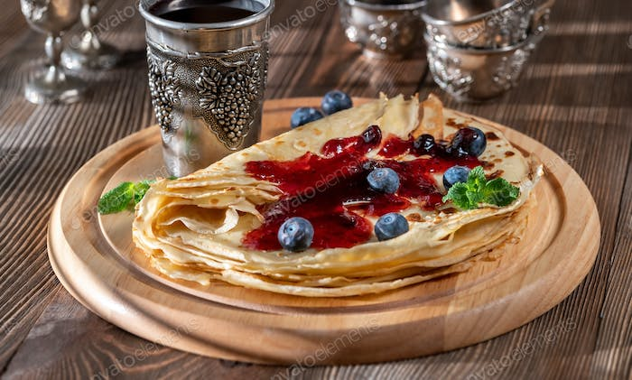 Crepes with fresh blueberries