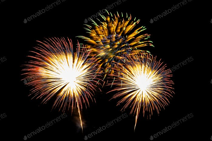 Abstract colorful firework display for celebration anniversary