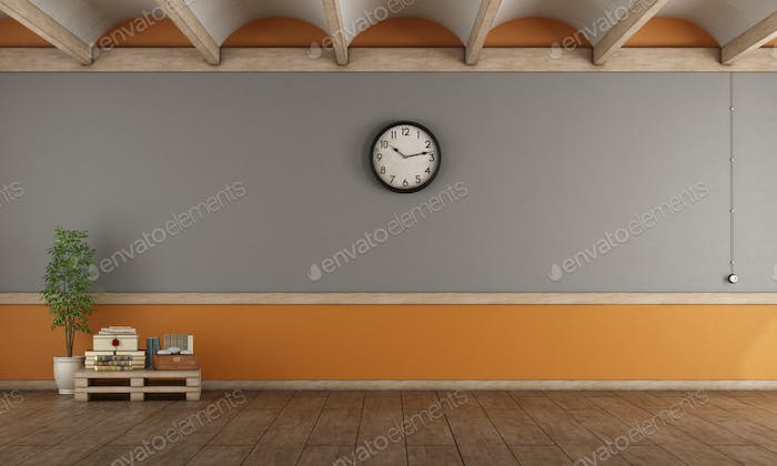 Empty gray and orange living room
