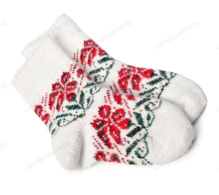 Winter Knitted Woolen Socks on white