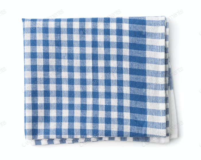 Top view of blue cotton kitchen napkin