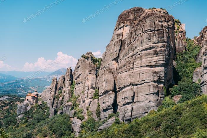 Meteora monasteries built on limestone rocks, Greece
