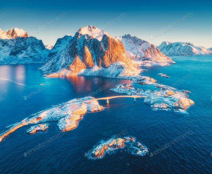 Aerial view of Reine and Hamnoy at sunrise in winter