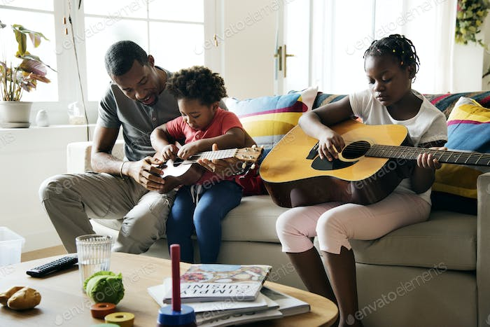 African descent family spending time together