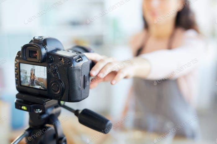 Food Blogger Setting Camera