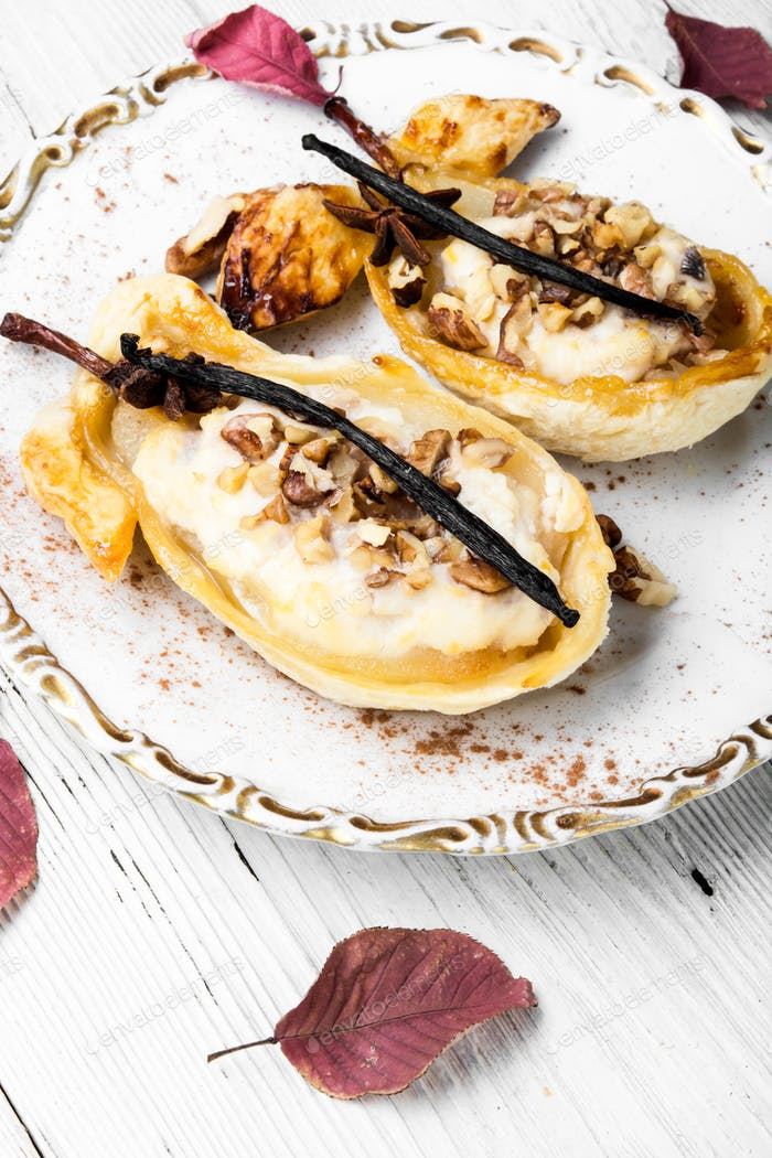 Dessert gebackene Birne