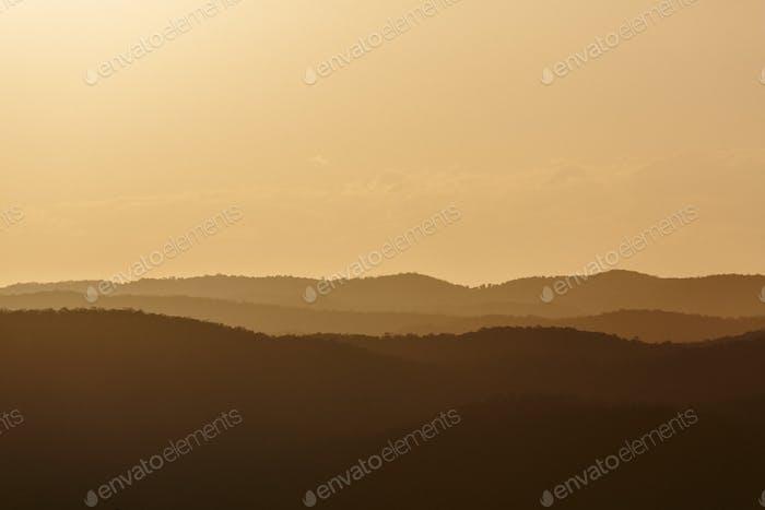 Sunset over the Sunshine Coast hinterland