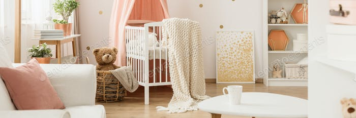 Pink and gold kid's bedroom