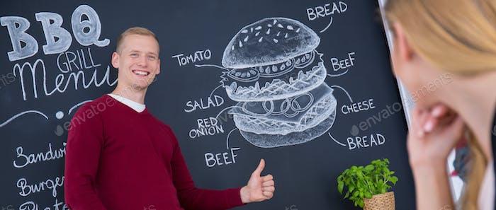 Man and burger drawing