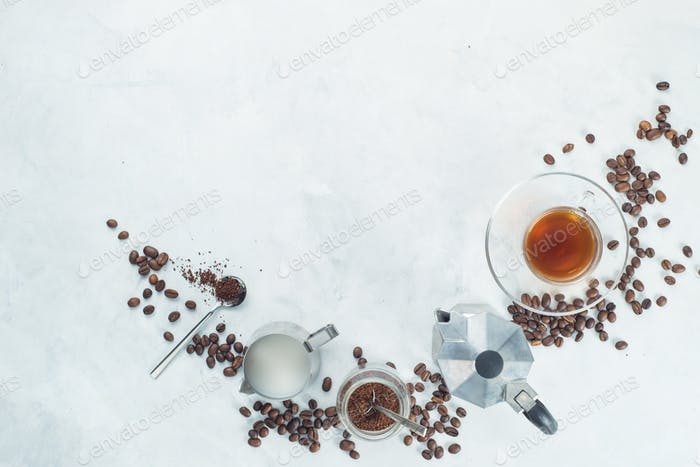 Header with brewing coffee ingredients. Moka pot, espresso cup, milk jug, ground coffee jar and