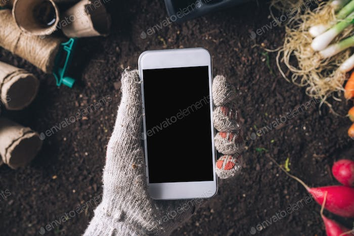 Smartphone mock up for organic homegrown produce cultivation