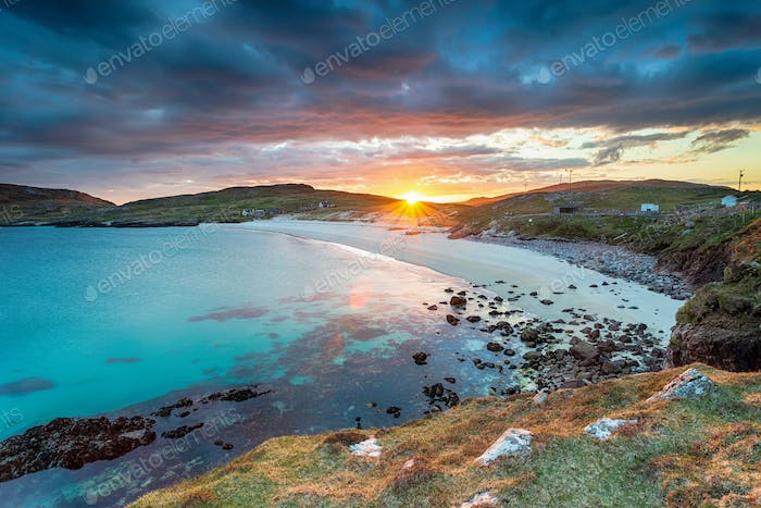 Sunset over the beach at Hushinish on the Isle of Harris