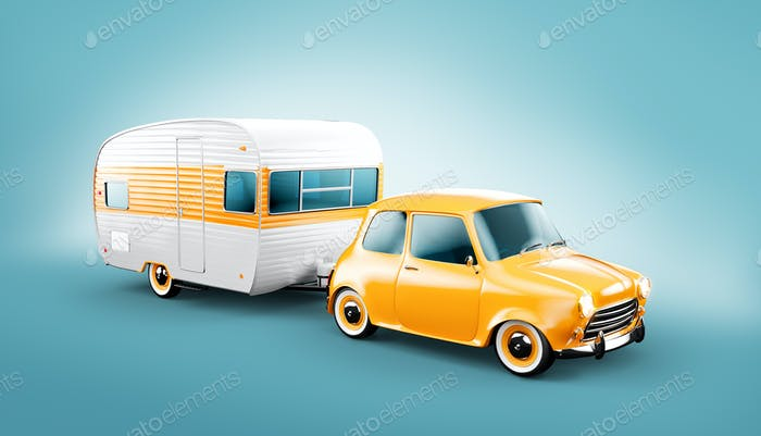 Retro car with white trailer.