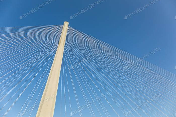modern bridge tower with stay cables