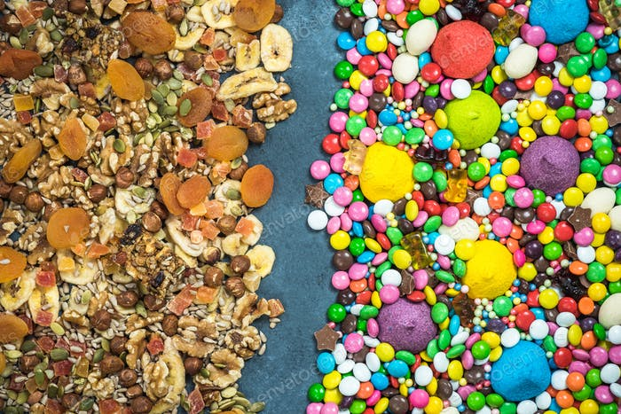 Junk food and sweets contra dried healthy snacks