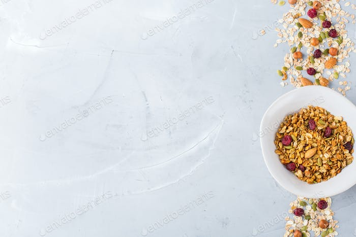 Homemade granola muesli with ingredients, healthy food for breakfast