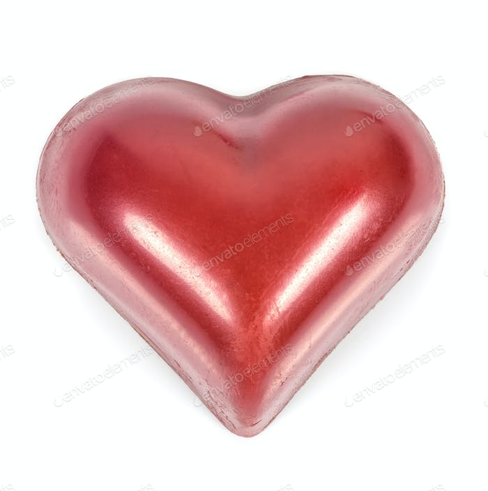 Red heart shaped chocolates on white background
