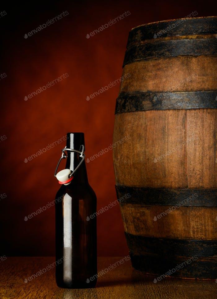 Beer Bottle and Barrel