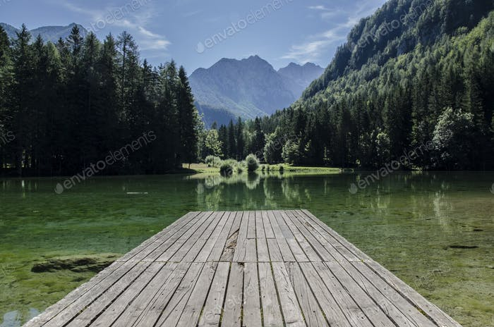 Beautiful scenery by the lake in the mountains